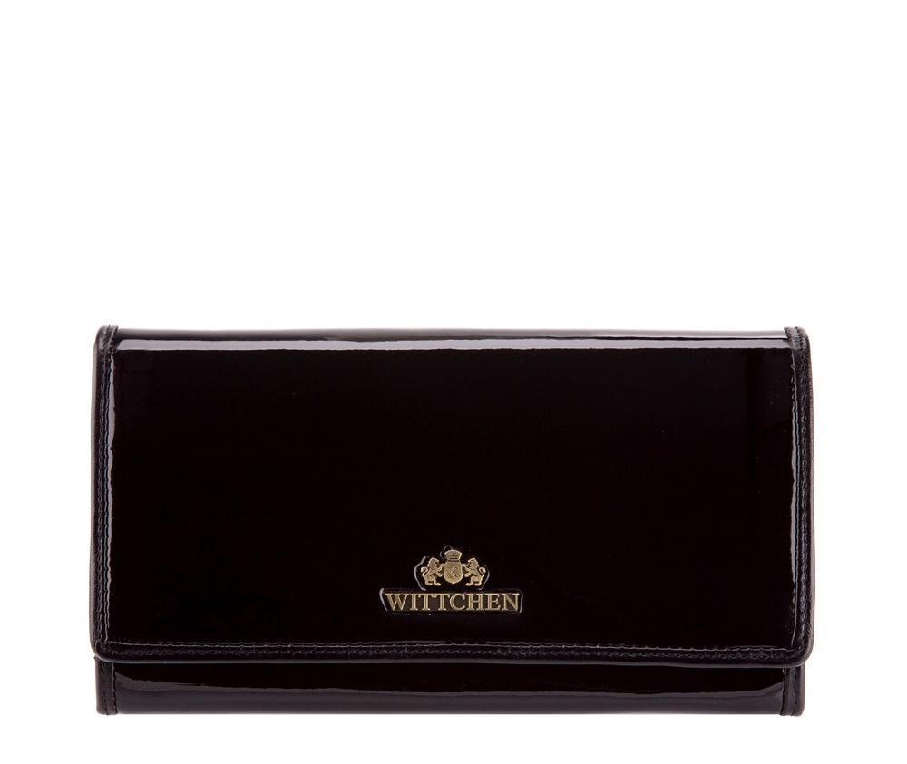 КошелекБольшой женский кошелёк из коллекции Verona. Изготовлен из лакированной телячьей кожи высочайшего качества, внутренняя отделка кошелька из натуральной кожи. Логотип- металлический значок с гербом WITTCHEN цвета старого золота. Упакован в фирменную коробку с логотипом WITTCHEN. Идеально подходит для женщин, ценящих стильный дизайн. &#13;<br>Особенности модели: отделение для мелочи на молнии; 3 отделения для купюр; 8 слотов для кредитных карт, в том числе 2 прозрачных; 4 кармана, в том числе 1 на молнии.<br><br>секс: женщина<br>Цвет: черный<br>материал:: лакированная кожа<br>высота (см):: 10<br>ширина (см):: 18.5