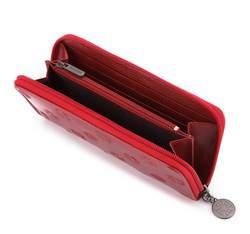 Damski portfel skórzany lakierowany tłoczony, czerwony, 34-1-393-3L, Zdjęcie 1