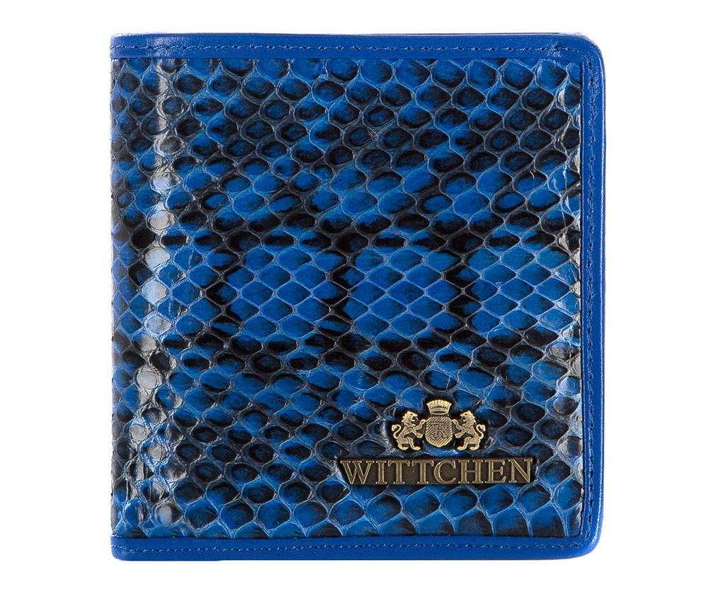 КошелекМаленький кошелек из коллекции Snake, сделан из натуральной кожи  стилизованной под змеиную кожу. Логотип- металлический значок с гербом  WITTCHEN цвета старого золота.  Упакован в подарочную упаковку с  фирменным логотипом WITTCHEN. Идеально подойдет для тех, кто  предпочитает эксклюзивный дизайн.&#13;<br>Особенности модели:&#13;<br>&#13;<br>    отделение для мелочи&#13;<br>    2 отделения для купюр&#13;<br>    3 слота для кредитных карт&#13;<br>    2 кармана.<br><br>секс: женщина<br>Цвет: голубой<br>материал:: натуральная кожа<br>высота (см):: 10<br>ширина (см):: 9.5