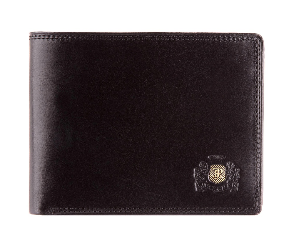 Кошелек Wittchen 39-1-173-1, черныйМужской кошелек сделан из телячьей кожи. Логотип- инициалы в металлическом значке цвета старого золота на тисненом гербе. Идеалено подходит для мужчин ценящих эргономичный дизайн и удобство. Кошелек имеет подарочную упаковку с логотипом WITTCHEN, дополнительно с товаром прилагается индивидуальный Сертификат Подлинности, который является гарантией высокого качества товара.  Кошелек состоит:        отделение для монет на защелке,      2 отдела для купюр,      3 отделения для кредитных карт, 5 карманов- 1 прозрачный.<br><br>секс: мужчина<br>Цвет: черный<br>материал:: натуральная кожа<br>высота (см):: 9<br>ширина (см):: 12