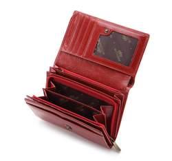 Damski portfel skórzany stylowy średni, czerwony, 21-1-361-3, Zdjęcie 1