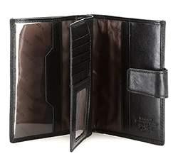 Męski portfel ze skóry z herbem na napę, czarny, 39-1-339-1, Zdjęcie 1