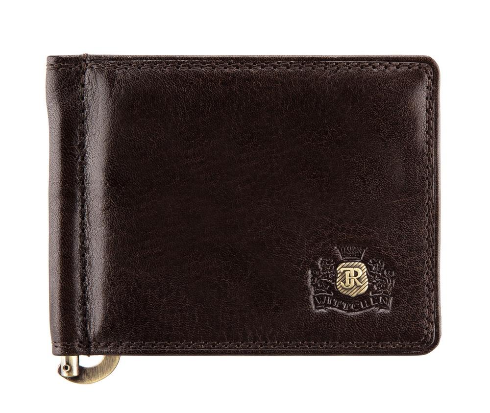 Зажим для денегЗажим для денег из коллекции Da Vinci, изготовлен из итальянской кожи высочайшего качества двойной выделки. Фирменный знак выполнен в виде металлического значка цвета старого золота. Упакован в фирменную коробку с логотипом WITTCHEN.&#13;<br>&#13;<br>Особенности модели:&#13;<br>&#13;<br>    металлический зажим для купюр&#13;<br>    6 слотов для кредитных карт&#13;<br>    2 отделения.<br><br>секс: унисекс<br>Цвет: коричневый<br>материал:: натуральная кожа<br>высота (см):: 8<br>ширина (см):: 10.5