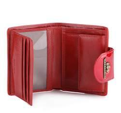 Damski portfel ze skóry lakierowany z ozdobną napą, czerwony, 25-1-362-3, Zdjęcie 1