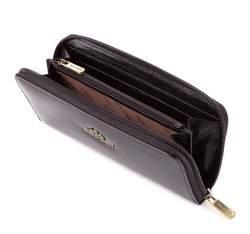 Damski portfel ze skóry lakierowany na suwak, czarny, 25-1-393-1, Zdjęcie 1