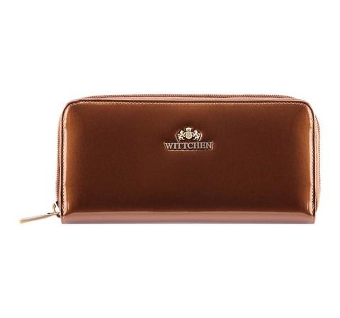 Damski portfel ze skóry lakierowany na suwak, złoty, 25-1-393-3, Zdjęcie 1