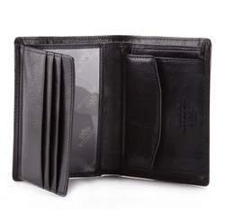 Męski portfel ze skóry mały, czarno - złoty, 21-1-023-1, Zdjęcie 1