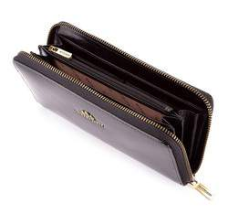 Damski portfel ze skóry na zamek, czarny, 25-1-482-1, Zdjęcie 1