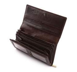 Damski portfel skórzany z herbem duży, brązowy, 10-1-052-4, Zdjęcie 1