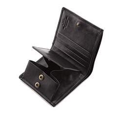 Damski portfel skórzany z herbem na zatrzask, czarny, 10-1-065-1, Zdjęcie 1