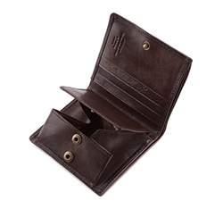 Damski portfel skórzany z herbem na zatrzask, brązowy, 10-1-065-4, Zdjęcie 1
