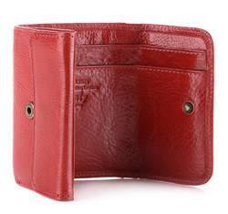 Portfel skórzany mały na zatrzask, czerwony, 21-1-068-3, Zdjęcie 1
