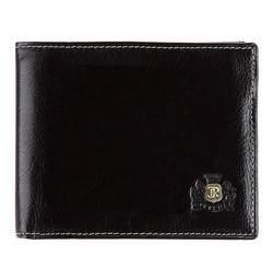 Męski portfel skórzany ze stębnowaniem rozkładany, czarny, 22-1-040-1, Zdjęcie 1
