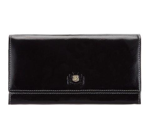 Damski portfel ze skóry z herbem poziomy, czarny, 22-1-052-3, Zdjęcie 1