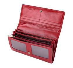Damski portfel ze skóry z herbem poziomy, czerwony, 22-1-052-3, Zdjęcie 1