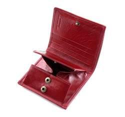Portfel ze skóry stębnowany mały, czerwony, 22-1-065-3, Zdjęcie 1