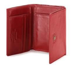 Damski portfel ze skóry z herbem na zatrzask, czerwony, 22-1-071-3, Zdjęcie 1