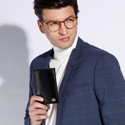 Portfel skórzany z herbem pionowy, czarny, 11-1-023-1, Zdjęcie 1