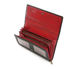 Damski portfel skórzany z herbem duży, czarno - czerwony, 10-1-052-13, Zdjęcie 1