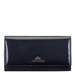 Damski portfel ze skóry lakierowanej podłużny, granatowy, 14-1L-052-N, Zdjęcie 1