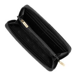 Damski portfel ze skóry na zamek, czarny, 02-1-393-G1, Zdjęcie 1