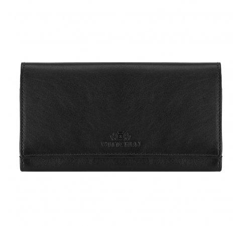Damski portfel skórzany o prostym kroju, czarny, 14-1-052-L91, Zdjęcie 1