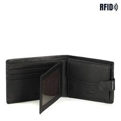 Męski portfel skórzany z przezroczystym panelem, czarny, 14-1-038-L11, Zdjęcie 1