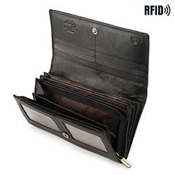 Damski portfel skórzany o prostym kroju, czarny, 14-1-052-L11, Zdjęcie 1