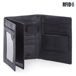 Męski portfel skórzany z przezroczystą przegródką, czarny, 14-1-615-L11, Zdjęcie 1