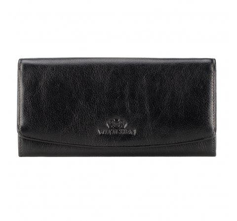 Damski portfel ze skóry z podwójnym zatrzaskiem, czarny, 21-1-414-1, Zdjęcie 1