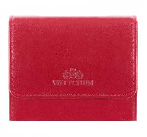 Damski portfel skórzany mały, wiśniowy, 14-1-078-L91, Zdjęcie 1