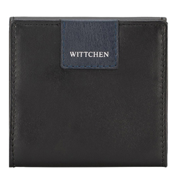 Leather coin case with logo patch detail, black-navy blue, 26-1-433-17, Photo 1