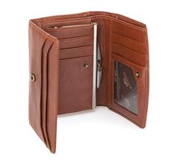 Damski portfel skórzany z kieszonką na bigiel, jasny brąz, 21-1-062-5, Zdjęcie 1