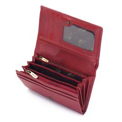 Damski portfel skórzany z fakturą duży, czerwony, 03-1-081-3, Zdjęcie 1