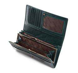 Damski portfel ze skóry lakierowany poziomy, ciemny zielony, 25-1-075-0, Zdjęcie 1