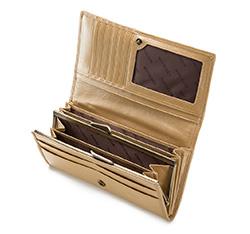 Damski portfel ze skóry lakierowany poziomy, złoty, 25-1-075-GB, Zdjęcie 1