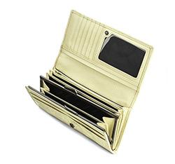 Damski portfel skórzany tłoczony w monogram, ecru, 34-1-075-K, Zdjęcie 1