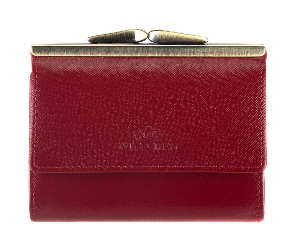 Кожаный кошелекСреднего размера женский кошелек, сделан из прочной, слегка глянцевой телячьей кожи. Логотип WITTCHEN выполнен методом тиснения на коже. Кошелек упакован в эксклюзивную упаковку - с лого комании WITTCHEN. Кошелек имеет: отделение для монет; 2 кармана для купюр; 2 слота для кредитных карт; 3 отдельних кармана в том числе два прозрачных.<br><br>секс: женщина<br>материал:: Натуральная кожа<br>высота (см):: 9<br>ширина (см):: 12