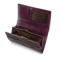 Damski portfel ze skóry lakierowany poziomy, fioletowy, 25-1-075-F, Zdjęcie 1