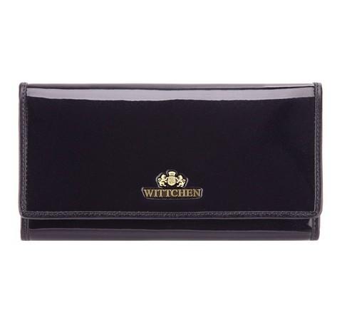 Damski portfel ze skóry lakierowany poziomy, granatowy, 25-1-075-F, Zdjęcie 1