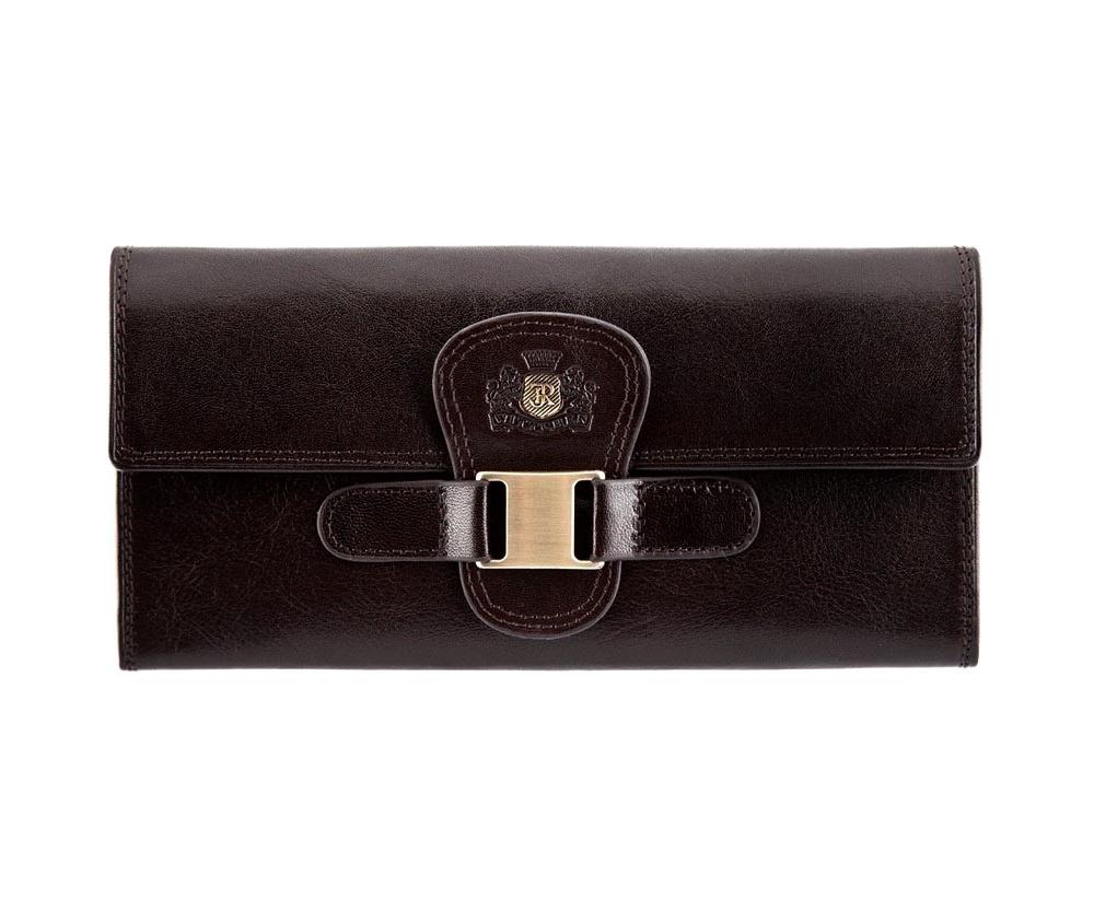 ПортмонеЖенское портмоне, сделано телячьей кожи. Логотип- инициалы в металлическом значке цвета старого золота на тисненом гербе. К портмоне прилагается подарочная упаковка с фирменным логотипом WITTCHEN.&#13;<br>Особенности модели:&#13;<br>&#13;<br>    отделение для монет на молнии,&#13;<br>    2 отделения для купюр,&#13;<br>    6 отделений для кредитных карт,&#13;<br>    3 кармана<br><br>секс: женщина<br>Цвет: коричневый<br>материал:: натуральная кожа<br>высота (см):: 9<br>ширина (см):: 19