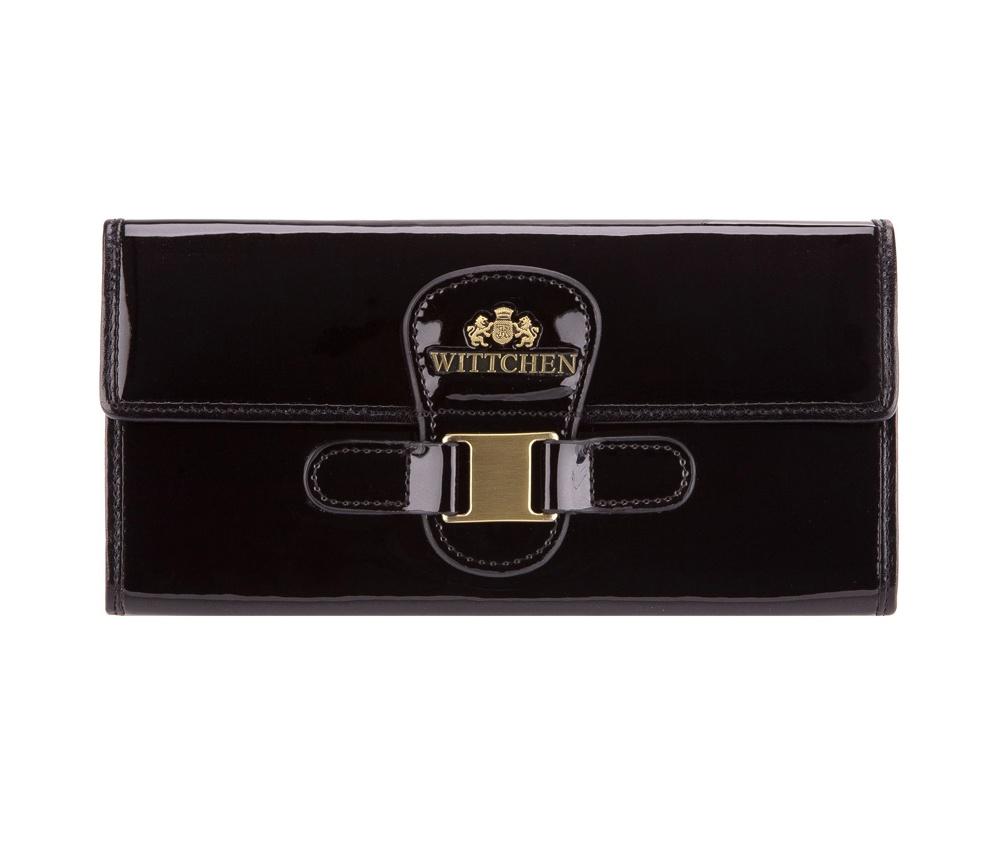 ПортмонеЖенское портмоне большого размера из коллекции Verona. Изготовлено из лакированной телячьей кожи высочайшего качества, внутренняя отделка кошелька из натуральной кожи, благодаря чему кошелек очень функционален и практичен. Логотип- металлический значок с гербом WITTCHEN цвета старого золота. Упаковано в фирменную коробку с логотипом WITTCHEN.&#13;<br>Особенности модели: отделение для мелочи на молнии; 2 отделения для купюр; 6 слотов для кредитных карт; 3 отделения.<br><br>секс: женщина<br>Цвет: черный<br>материал:: лакированная кожа<br>высота (см):: 9<br>ширина (см):: 19