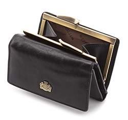 Damski portfel skórzany z herbem na bigiel, czarny, 10-1-053-1, Zdjęcie 1