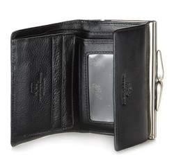 Damski portfel ze skóry na bigiel mały, czarny, 21-1-059-1, Zdjęcie 1