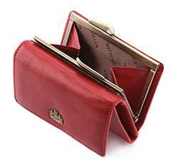 Damski portfel skórzany z herbem na bigiel, czerwony, 10-1-053-3, Zdjęcie 1