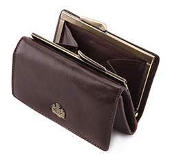 Damski portfel skórzany z herbem na bigiel, brązowy, 10-1-053-4, Zdjęcie 1