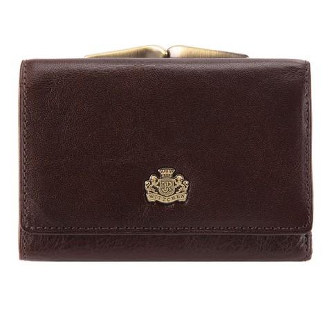 Damski portfel skórzany z herbem na bigiel, Brązowy, 10-1-053-1, Zdjęcie 1