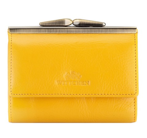 Damski portfel ze skóry na bigiel mały, żółty, 21-1-059-3, Zdjęcie 1