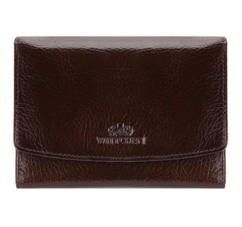 Damski portfel skórzany z kieszonką na bigiel, Brązowy, 21-1-062-44, Zdjęcie 1