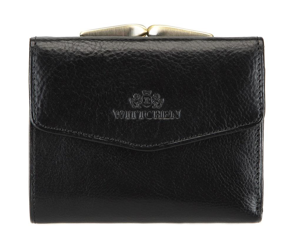 ПортмонеЖенское портмоне сделано из мягкой телячьей кожи. Логотип- герб WITTCHEN тисненый на коже.&#13;<br>Портмоне состоит:&#13;<br>&#13;<br>&#13;<br>    отделение для монет, разделенное на 2 части&#13;<br>    карман для купюр&#13;<br>    2отделения для кредитных карт&#13;<br>    3 кармана, один из них прозрачный&#13;<br>    размеры: 110 x 90 мм&#13;<br>&#13;<br>Портмоне имеет подарочную упаковку с логотипом WITTCHEN, дополнительно с товаром прилагается индивидуальный Сертификат Подлинности, который подтверждает оригинальность и высокое качество продукции.&#13;<br>Коллекция Italy, подробное описание коллекции Вы можете найти<br><br>секс: женщина<br>Цвет: черный<br>высота (см):: 9<br>ширина (см):: 11